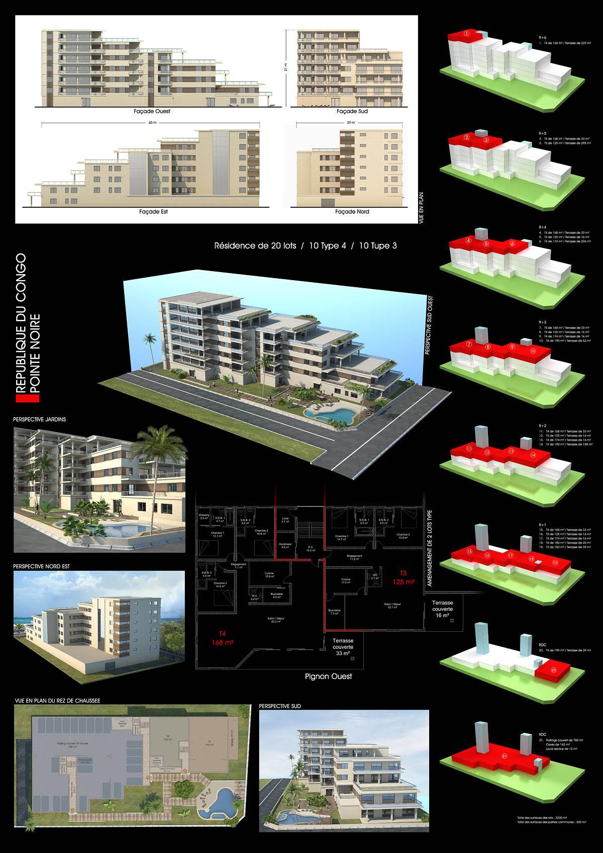 Infographie 3d en architecture concours logements pointe noire - Planche concours architecture ...