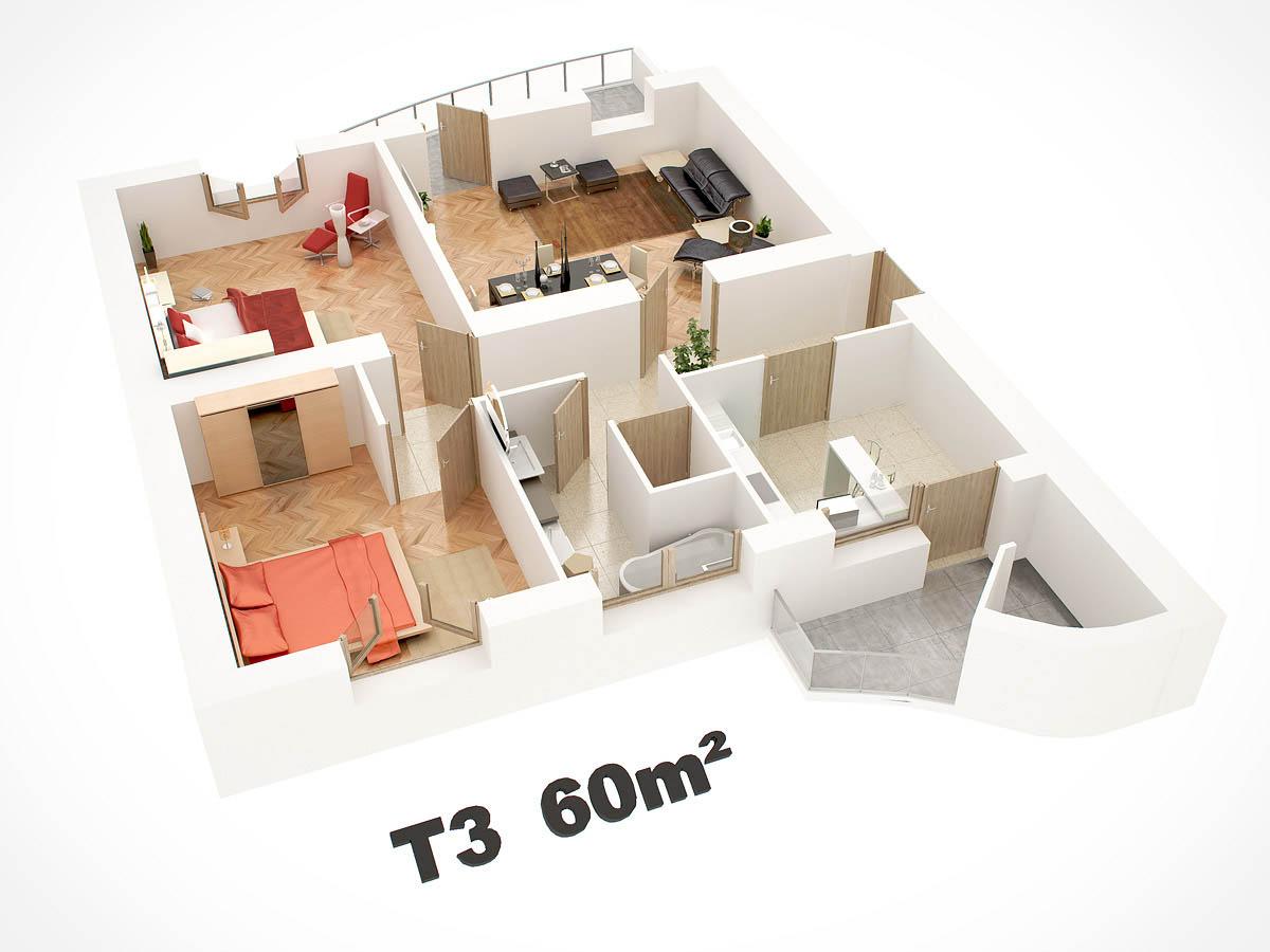 Infographie 3d en architecture r alisations 3d visualimo for Appartement en 3d