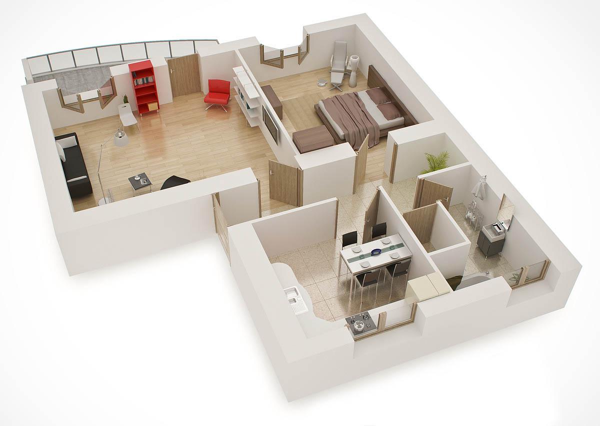Illustration 3d coupe appartement
