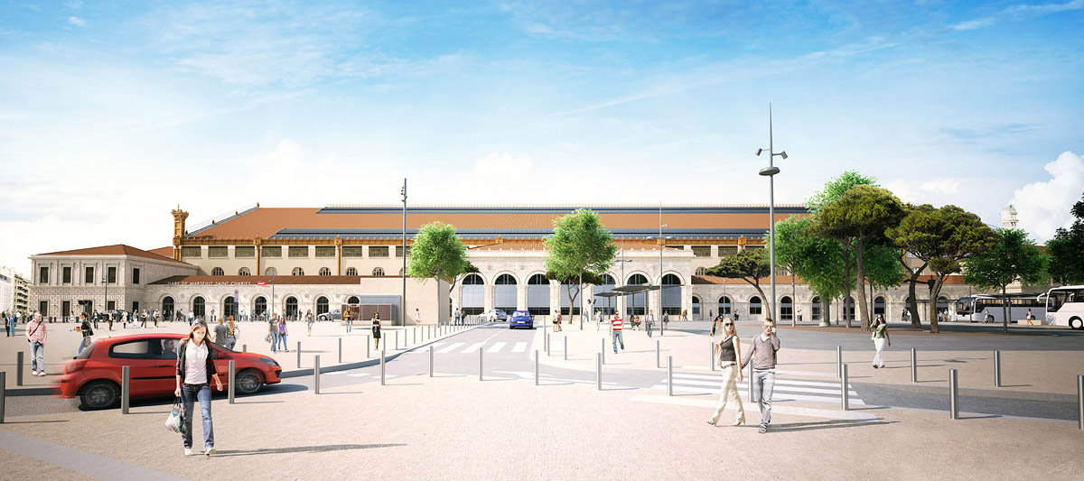 Perspective 3D Gare de Marseille Saint Charles - Square Narvik 04
