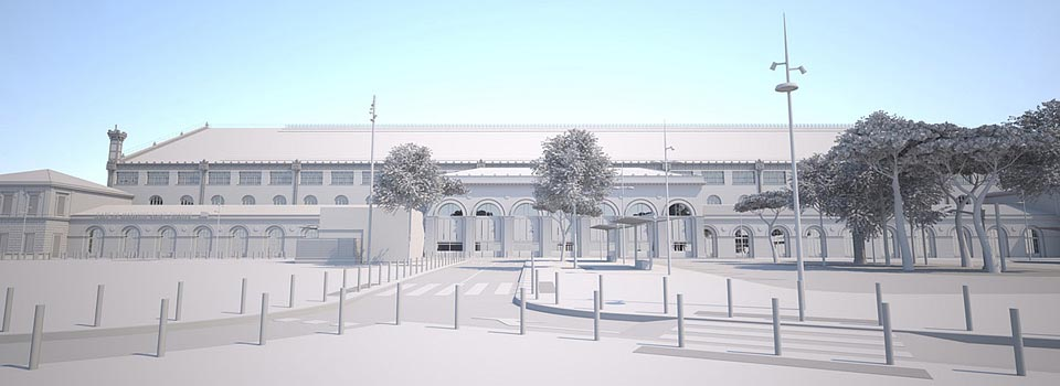 Volumetrie 3D maquette blanche - Marseille Saint Charles