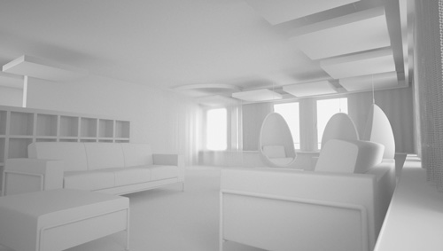 amenagement 3D interieure volumetrie maquette blanche