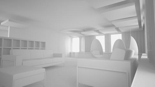 amenagement 3D interieure volumetrie maquette blanche