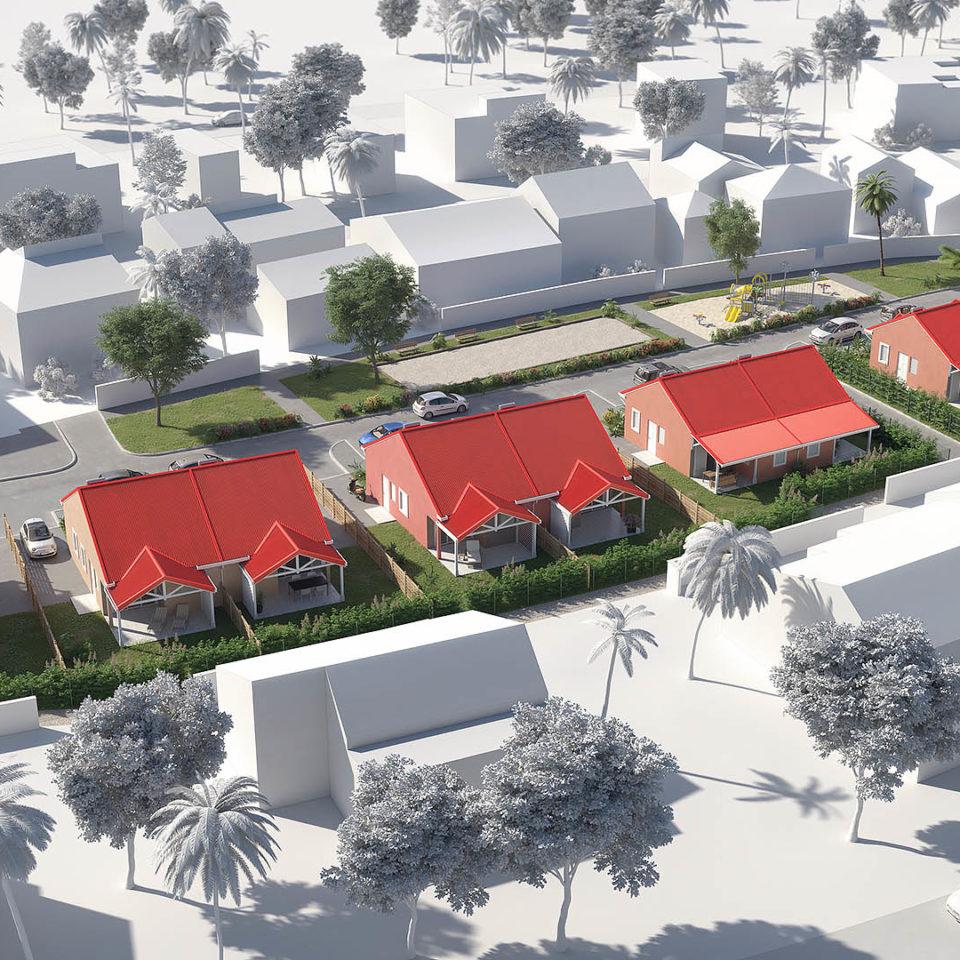 Maquette d'étude - Logements Guadeloupe - Couleurs d'Architecture