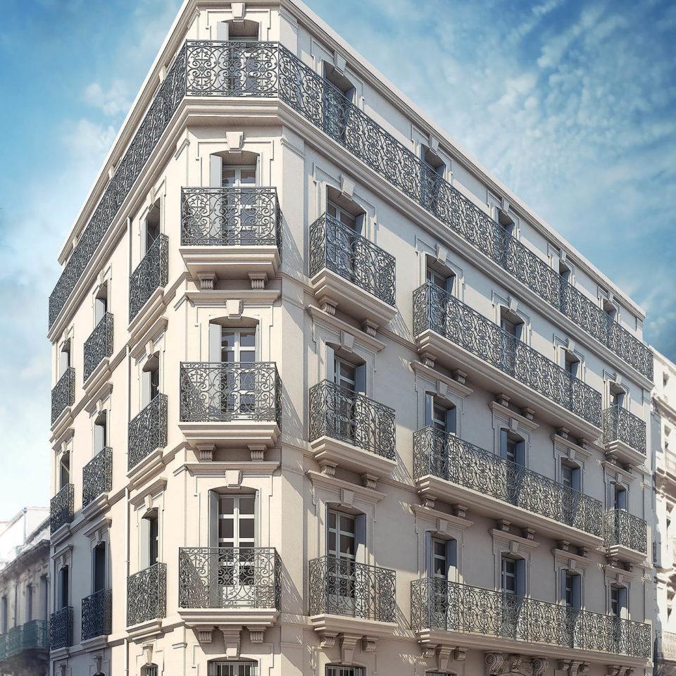 Rendu 3D d'ambiance d'un immeuble à Montpellier