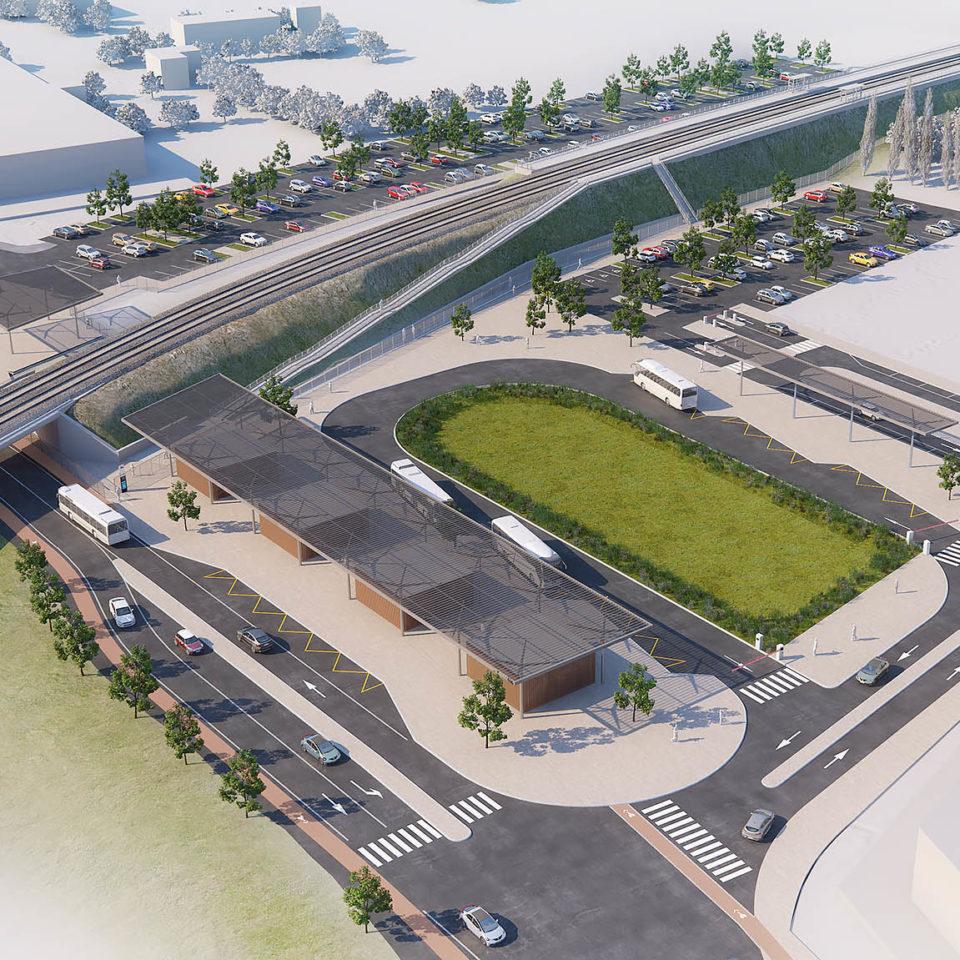 Rendu 3D maquette - Aménagement Gare routière de Marseille Cabriès - Plan de Campagne