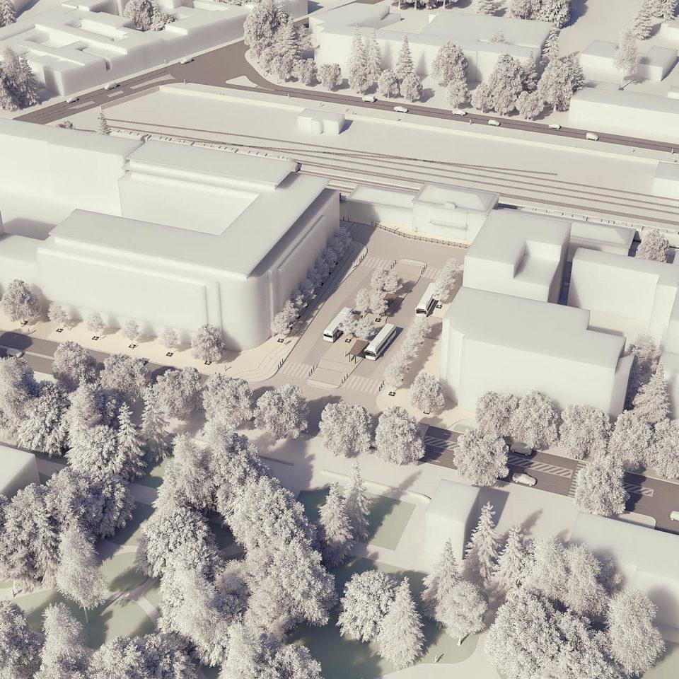 Maquette blanche 3D - Aménagement d'une gare routière - GAP