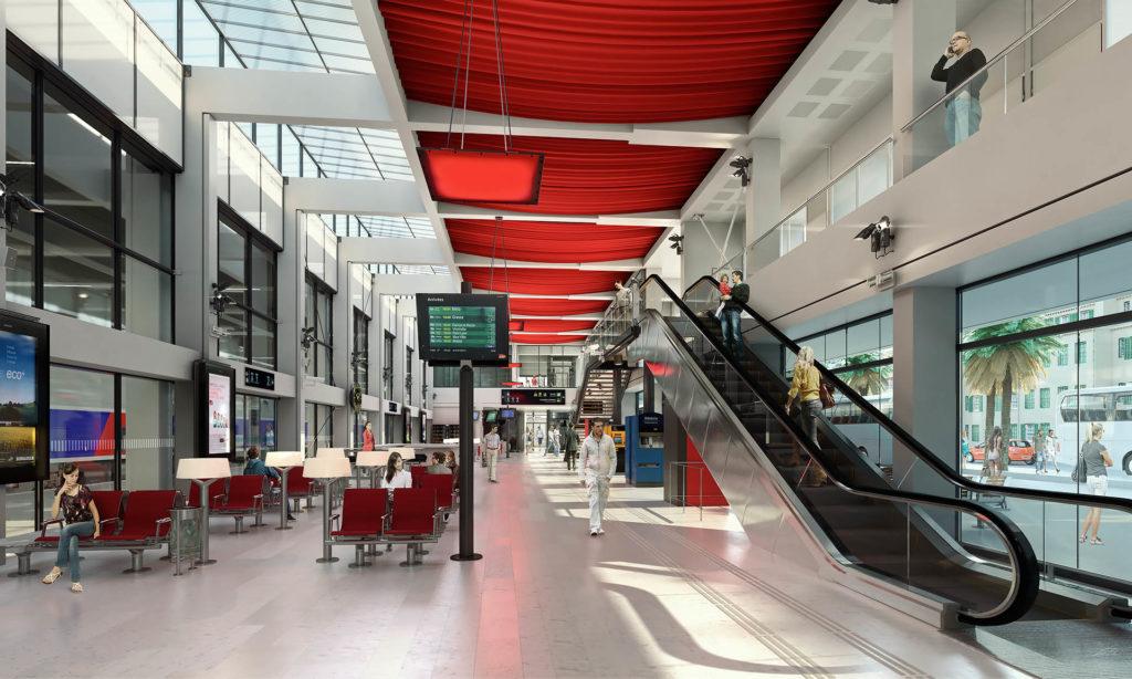 Perspective 3D intérieure du hall de la nouvelle gare de Cannes