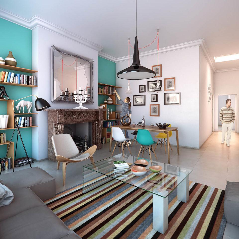 Image d'intérieure 3D avec agencement des volumes d'un appartement