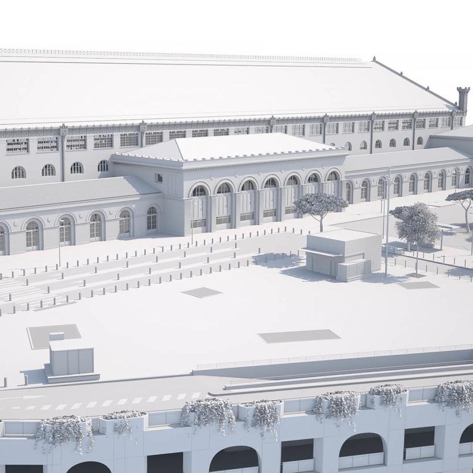 Volumetrie 3D maquette blanche - Gare de Marseille Saint Charles 1