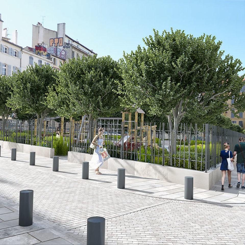 Intégration paysagère de la place Providence - Marseille