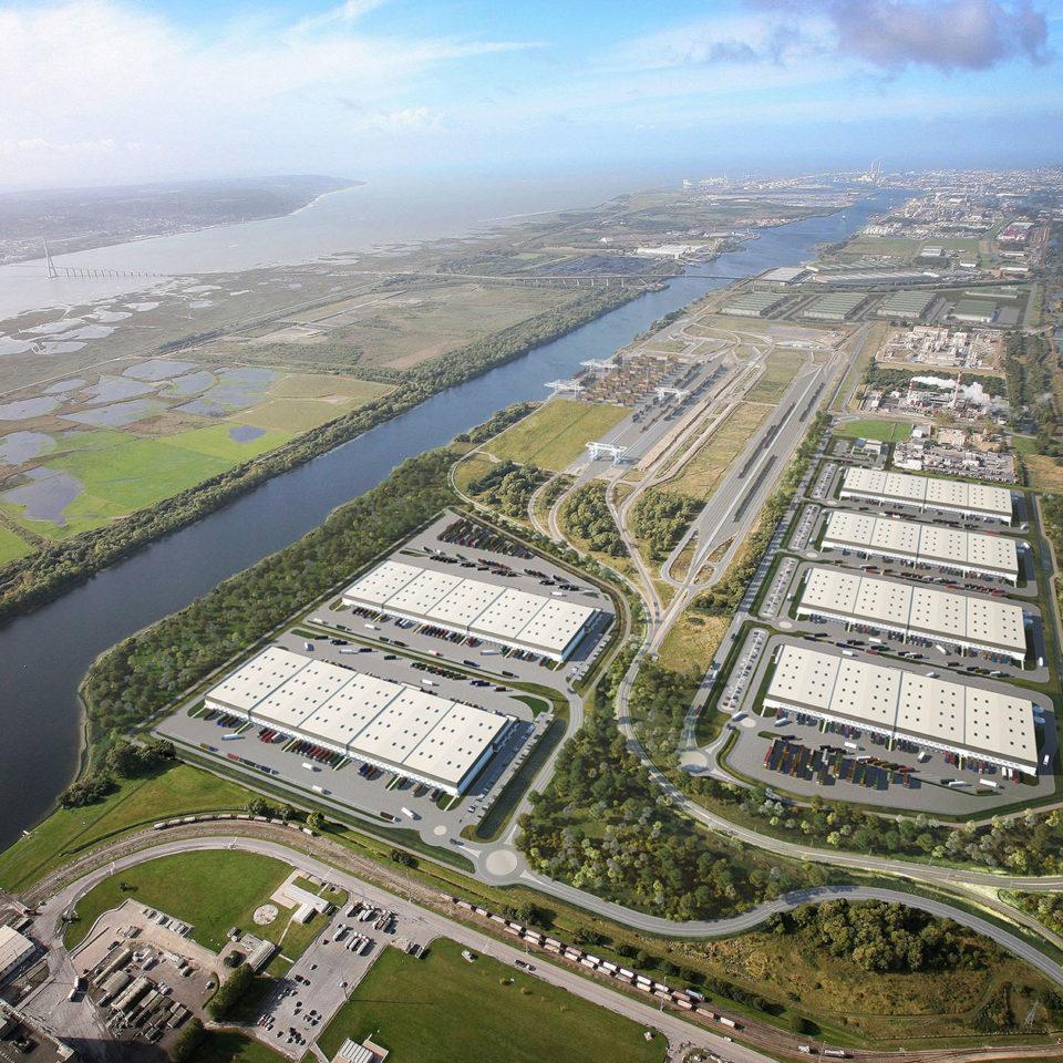 Intégration sur photo aérienne d'un parc logisitque au Havre - GPMH
