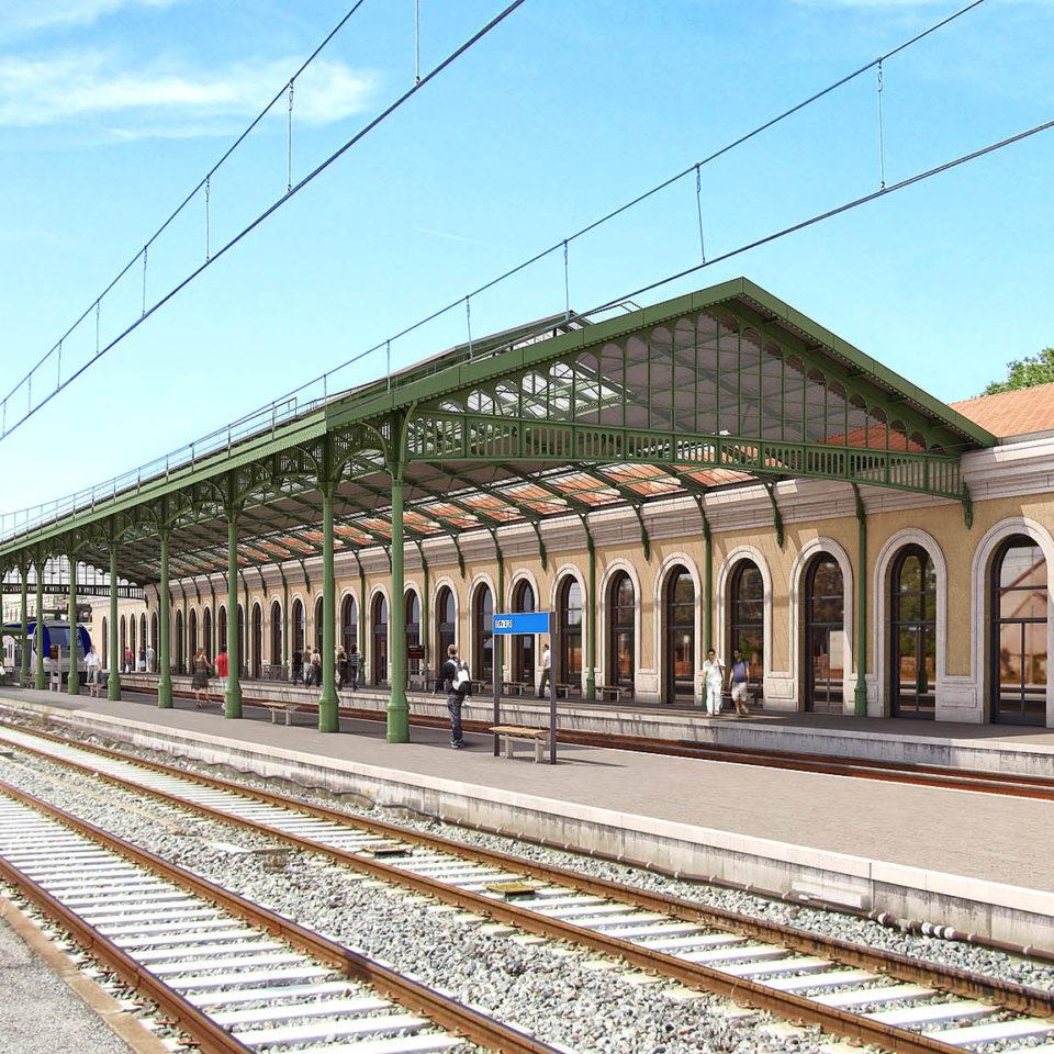 Intégration 3D sur photo - Grande hall voyageur - Gare SNCF de Béziers